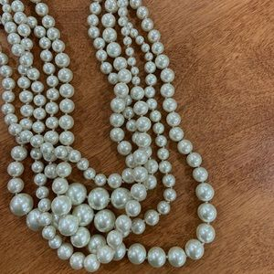 J.Crew ribbon tie pearl layered necklace